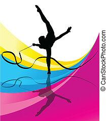 tonåring, Gymnastik, band, vektor, abstrakt, bakgrund