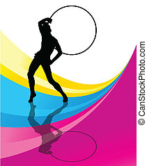 Rhythmic gymnastic background woman with hoop ring