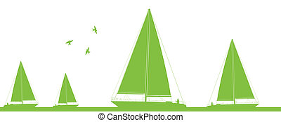 Yacht sailing in wild nature landscape illustration ecology...