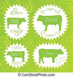 Beef cattle ecology food labels illustration collection...