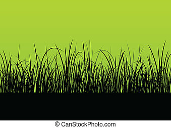 Fresh grass landscape detailed silhouette illustration...