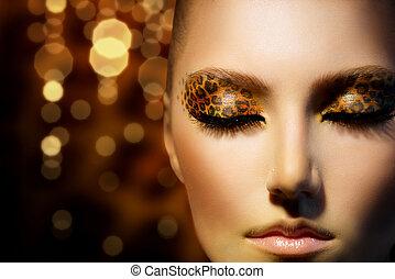 belleza, Moda, modelo, niña, feriado, Leopardo,...