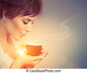 Beautiful Girl Enjoying Coffee Woman with Cup of Hot...