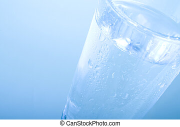 Glass of Water - Glass of water on Blue Background