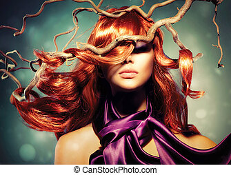 Moda, modelo, mujer, retrato, largo, rizado, rojo, pelo