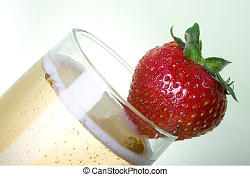 Champagne with Strawberry sideways - Champagne with...