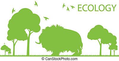 Bison ecology vector background concept landscape