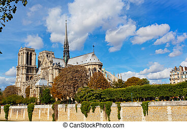 Notre Dame (Paris) along the Seine river