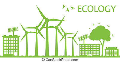 Wind alternative energy generator blue vector background