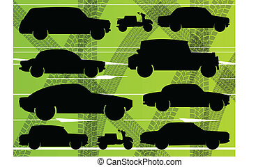 Environmental cars and transportation illustration collection background vector