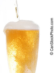 Pooring beer onto glass - Beer being poored onto tall glass...