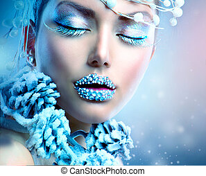 Winter Beauty Woman Christmas Girl Makeup