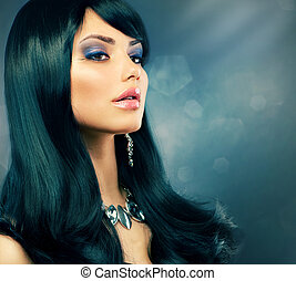 Brunette Luxury Girl Healthy Long Black Hair and Holiday...