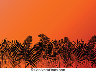 Palm tree silhouettes wild nature landscape background...