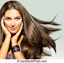 Beautiful Woman with Long Blowing Hair