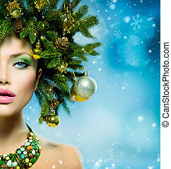 Christmas Woman Christmas Tree Holiday Hairstyle and Make up...