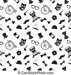 Hipster Black and White Seamless Pattern - Vector Hipster...