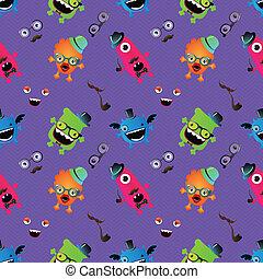 Hipster Monster Seamless Pattern . Vector Illustration