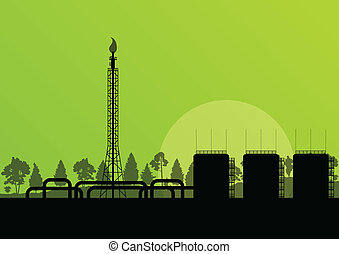 Oil refinery industrial factory landscape illustration background vector for poster