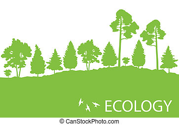 Ecology concept detailed forest tree illustration vector...