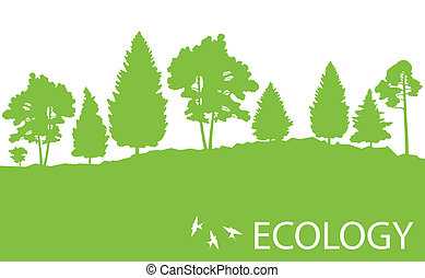 Ecology concept detailed forest tree illustration vector background card or poster