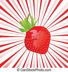 Beautiful and sweet strawberry sun burst vector background