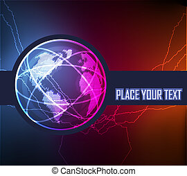 Cute glowing neon lights background illustration of world...