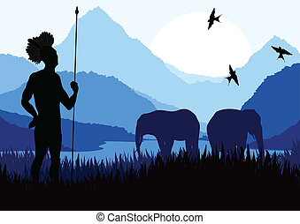 Animated cute elephant family in wild nature landscape...
