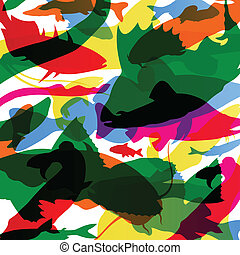 Fish colorful abstract pattern background illustration...