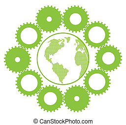 Green eco planet with concept of innovation gears around it vector background