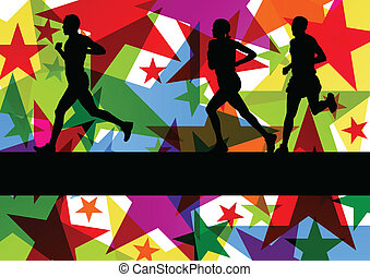 Marathon sport runners in colorful abstract star line...