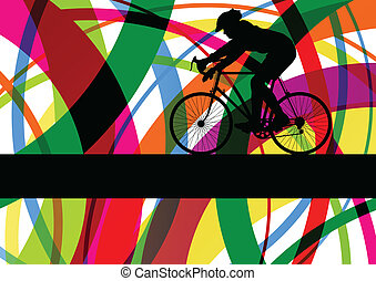 Sport road bike rider bicycle silhouette in colorful abstract line background vector illustration