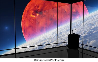 Spaceport - Abstract vision of space travel. This graphic is...