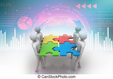 3d people - team with the puzzles in hands
