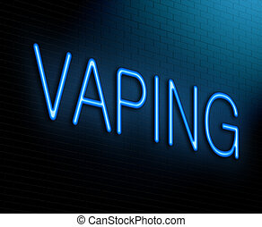 Vaping concept - Illustration depicting an illuminated neon...