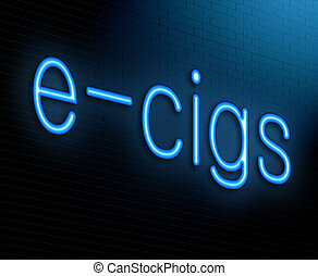 E-cigarette concept. - Illustration depicting an illuminated...