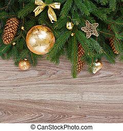 golden decorations green fir tree border