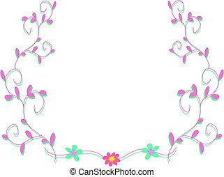 Frame of Vine Plants and Flowers