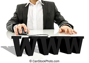 3d www - Businessman sitting at his desk surfing the net....