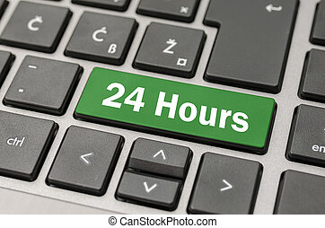 24 Hours button - Green computer button with 24 Hours sign
