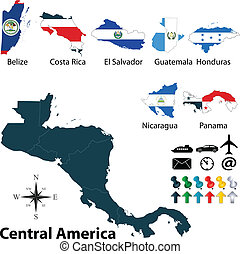Political map of Central America