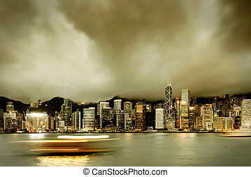 Hong Kong night - Night view of Hong Kong Victoria Harbor