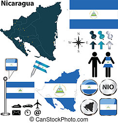 Map of Nicaragua - Vector of Nicaragua set with detailed...