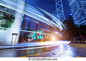modern city at night - Modern city at night, Hong Kong,...
