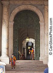 Pontifical, Suíço, guardas, seu, tradicional,...