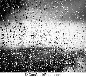 Drops On Glass After Rain - Water Drops Of Rain On Glass On...