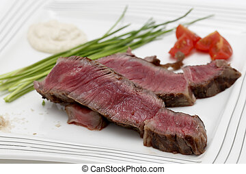 Wagyu steak dinner closeup - Grilled wagyu rump steak,...