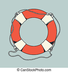 Detailed colored nautical life-buoy - Detailed outlines,...