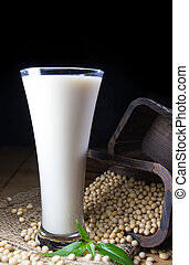 soy milk with soy beans background