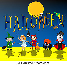 Helloween kids. Vector